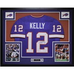 """Jim Kelly Signed Bills 35"""" x 43"""" Custom Framed Jersey (JSA COA)"""