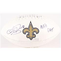 "Lance Moore Signed Saints Logo Football Inscribed ""WHO DAT"" (Radtke Hologram)"