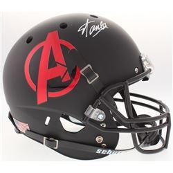 """Stan Lee Signed """"Avengers"""" Logo Custom Matte Black Full-Size Helmet (Lee Hologram  Radtke COA)"""