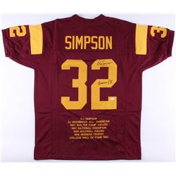 "OJ Simpson Signed USC Trojans Career Highlight Stat Jersey Inscribed ""Heisman 68'"" (JSA COA)"