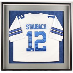Roger Staubach Signed Cowboys 38.5x37.5x3 Custom Framed Shadowbox Jersey Display (JSA Hologram)
