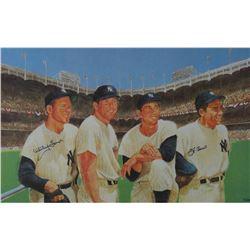Yogi Berra  Whitey Ford Signed Yankees 24x36 Lithograph (Steiner COA)
