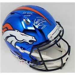 """Peyton Manning Signed LE Broncos Full-Size Authentic On-Field Custom Chrome Speed Helmet Inscribed """""""