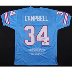 "Earl Campbell Signed Oilers Career Highlights Stats Jersey Inscribed ""HOF 91"" (JSA COA)"