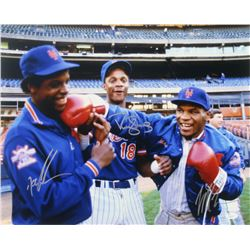 Mike Tyson, Dwight Gooden  Darryl Strawberry Signed Mets 16x20 Photo (JSA COA)