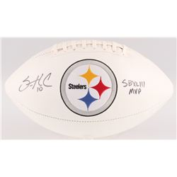 "Santonio Holmes Signed Steelers Logo Football Inscribed ""SB XLIII MVP"" (JSA COA)"