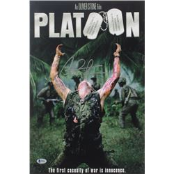 "Charlie Sheen Signed ""Platoon"" 12x17 Photo (Beckett COA)"