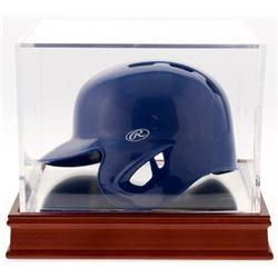 Nolan Ryan Signed Rangers Mini-Batting Helmet With Display Case (PSA COA)