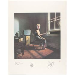 """Geddy Lee, Neil Peart  Alex Lifeson Signed Rush """"Power Windows"""" 22x28 Limited Edition Lithograph (JS"""