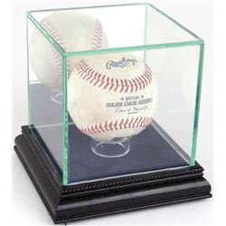 Premium Single Baseball Glass Display Case with Blue Suede  Black Wood Base  Mirrored Back