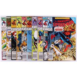"""Lot of (10) 1989-1992 Marvel """"The Amazing Spider-Man"""" Comic Books with #327, #346, #350"""