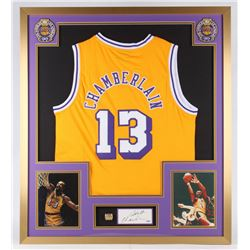 Wilt Chamberlain Signed Lakers 32x36 Custom Framed Cut Display with NBA Championship Ring (PSA Holog