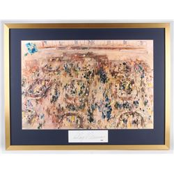 "LeRoy Neiman Signed ""Stock Market"" 30x39 Custom Framed Cut Display (PSA COA)"