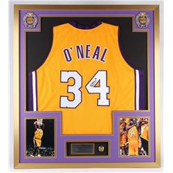 Shaquille O'Neal Signed Lakers 32x36 Custom Framed Jersey Display with NBA Championship Ring (JSA CO