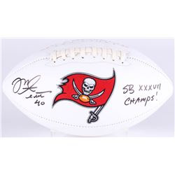 "Mike Alstott Signed Buccaneers Logo Football Inscribed ""SB XXXVII Champs!"" (JSA COA)"