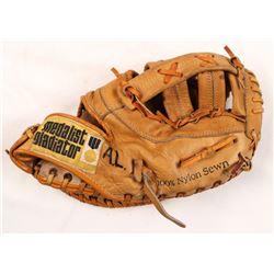"Ernie Banks Signed Vintage Gladiator Baseball Glove Inscribed ""Let's Play Two Today""  ""Mr Cub"" (JSA"