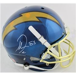 Antonio Gates Signed Chargers Full-Size Navy Blue Chrome Helmet (Beckett COA)