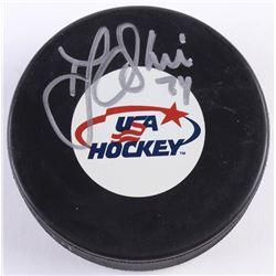 T. J. Oshie Signed USA Logo Hockey Puck (JSA COA)