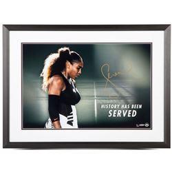 "Serena Williams Signed ""History Has Been Served"" 20x24 Custom Framed Photo (UDA COA)"