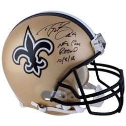 """Drew Brees Signed Saints Full-Size Authentic On-Field Helmet Inscribed """"NFL Pass Record 10/8/18"""" (Fa"""