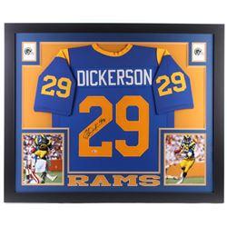 """Eric Dickerson Signed Rams 35x43 Custom Framed Jersey Inscribed """"HOF 99"""" (Beckett COA)"""