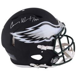 Carson Wentz Signed Eagles Custom Matte Black Full-Size Authentic On-Field Speed Helmet (Fanatics Ho