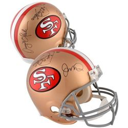"""Dwight Clark  Joe Montana Signed 49ers """"The Catch"""" Full-Size Authentic On-Field Helmet with Hand-Dra"""
