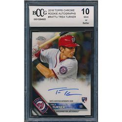 2016 Topps Chrome Rookie Autographs #RATTU Trea Turner RC (BCCG 10)