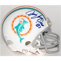 "Jim Langer Signed Dolphins Mini Helmet Inscribed ""HOF 87"" (JSA COA)"