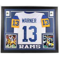 Kurt Warner Signed Rams 35x43 Custom Framed Jersey (Beckett Hologram  Warner Hologram)