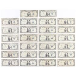 Lot of (26) 1953-1957 U.S. Blue Seal Silver Certificate Notes with (25) $1 One Dollar Notes  (1) $5