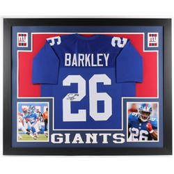 Saquon Barkley Signed Giants 35x43 Custom Framed Jersey (JSA COA)
