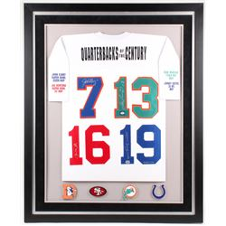 "LE ""Quarterbacks of the Century"" 36x44 Framed Jersey Signed by (4) with Joe Montana, John Elway, Joh"