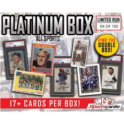 """PLATINUM BOX"" All Sport Mystery Sports Cards Box 17+ HITS Per Box!"