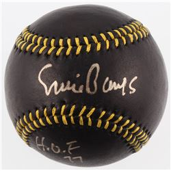 "Ernie Banks Signed Black Leather Baseball Inscribed ""H.O.F 77"" (JSA COA  Stan Musial Hologram)"