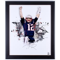 Tom Brady Signed Patriots 23.5x27.5 Custom Framed Photo Display (Fanatics Hologram)