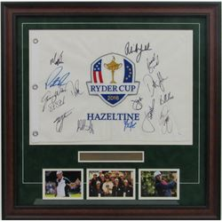 2016 USA Ryder Cup Custom Framed Pin Flag Display Team-Signed by (15) with Phil Mickelson, Jordan Sp