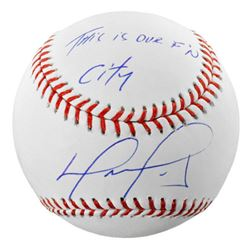 "David Ortiz Signed Baseball Inscribed ""This is Our F'N City"" (Fanatics Hologram  MLB Hologram)"