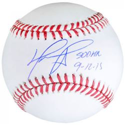 "David Ortiz Signed OML Baseball Inscribed ""500 HR 9-12-15"" (Fanatics Hologram  MLB Hologram)"