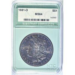 1881-O MORGAN DOLLAR NTC CH/GEM BU