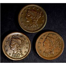 (2) 1851 LARGE CENTS VF/XF & 1853 LG