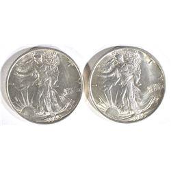 2-1945-S WALKING LIBERTY HALF DOLLARS, GEM BU