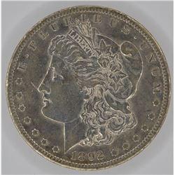 1892-CC MORGAN DOLLAR, AU+