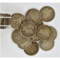 28-BARBER HALF DOLLARS, CIRC MOSTLY AG/G