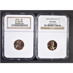 1956 & 1960 LARGE DATE LINCOLN CENTS  NGC PF-67 RE