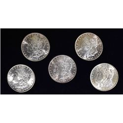 5-BU MORGAN DOLLARS IN DISPLAY BOX