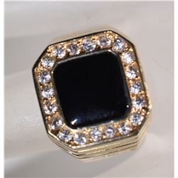 BLACK ONYX 14k MENS RING w/CZ's