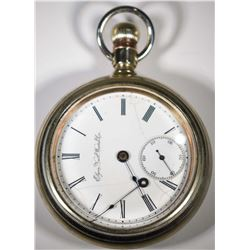 CIRCA 1900 ELGIN SILVER OPEN FACE POCKET WATCH -