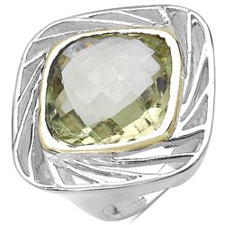 LEMON TOPAZ (9.8cts) RHODIUM PLATED RING
