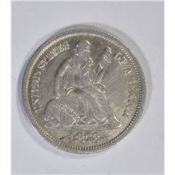1873 ARROWS SEATED LIBERTY DIME CH AU